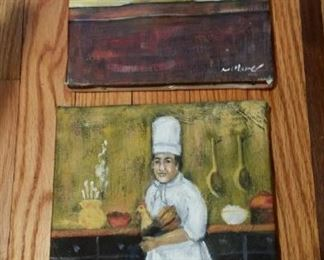 pair small chef oil paintings