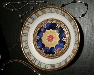 ROYAL WORCESTER Millennium 2000 AD Blue Gold Trinket Dish/Coaster, Limited Edition