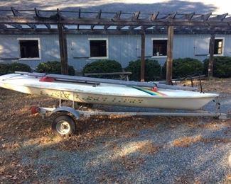 Laser sailboat with Trailex trailer