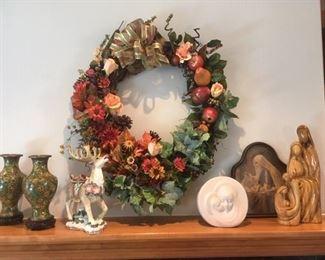 Cloisonné vases, Fitz & Floyd Reindeer, Vintage & olive wood Madonna & Child items