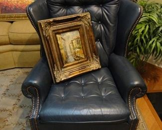Blue Leather Chair in Great Condition / Framed Print canvas 8x10