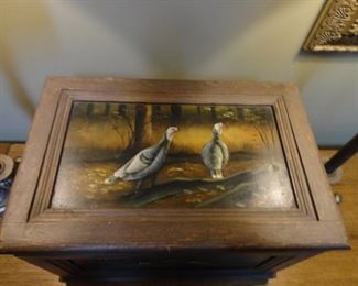 Painted  turkey wooden box with lid 13x18x12