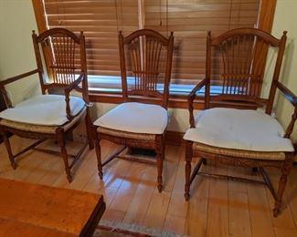 Sealed bid lot 002 eight rush seat dining chairs original retail price $900
