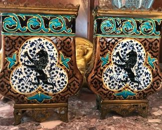 Pair of antique Russian porcelain vases