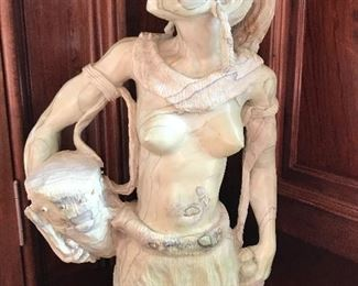 "African jade sculpture titled ""Woman Warrior"" by Moses Chikumbirike, 16"" tall"