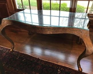Unique leather-top (and glass top) writing desk