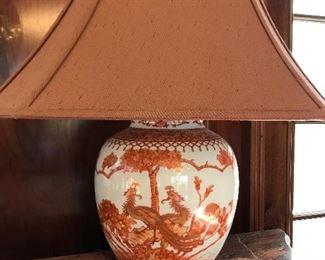 antique Asian porcelain lamp