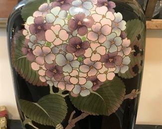 """25"""" Tall cloisonné vase, 10"""" wide"""