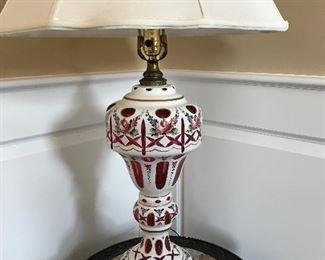 Pair of Bohemian cranberry antique glass lamps