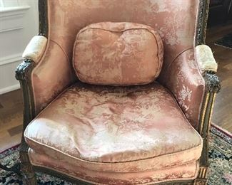 Antique French chair with pink silk fabric