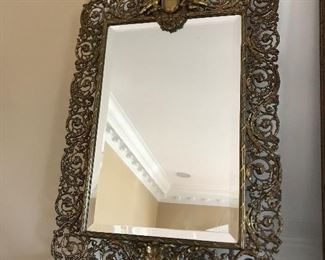 Antique table top brass frame beveled mirror