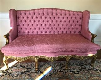 Antique French tufted sofa with down filled cushions & silk fabric