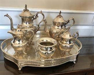 Silver over copper tea service & tray