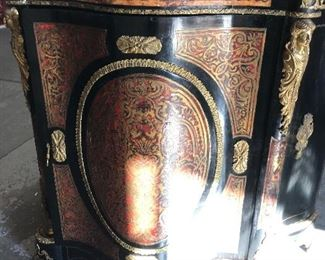 antique Boulle pink marble-top cabinet