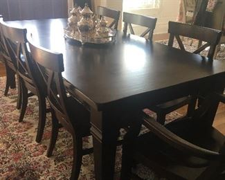 Pottery Barn dining table with 8 chairs