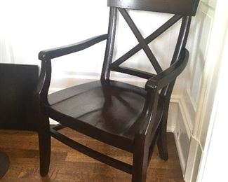 Two of the eight chairs are armchairs (by Pottery Barn)
