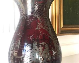 """Silver over ruby glass 12"""" vase"""