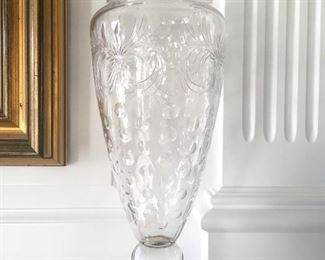 Tall crystal vase with Hawkes sterling base