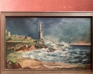 Small antique painting ~ oil on slate