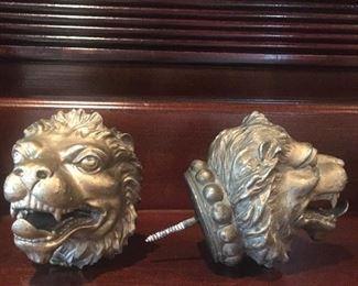 antique lion head pot metal drape tie-backs