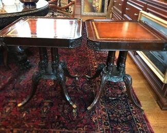 Pair matching leather top end tables or night stands.