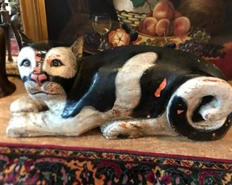 """Large wooden cat, measures 33"""" long, 15"""" tall"""