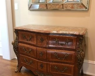 antique marble top dresser with silk lined drawers & bronze accents (mirror not for sale)