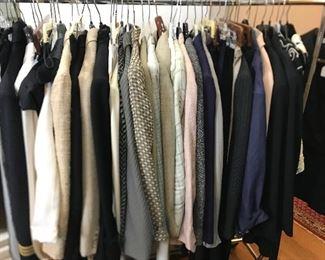 A selection of ladies clothing; vintage Giorgio Armani blazers, Vintage Donna Karen tops & slacks, a few vintage Calvin Klein Collection