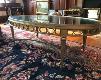 Mirror top oval coffee table