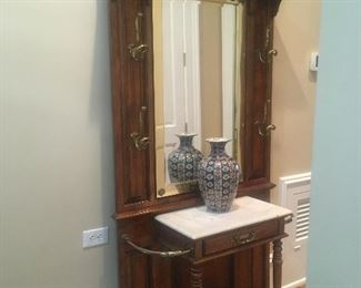 Hall tree with beveled mirror plus cane/marble/brass accents