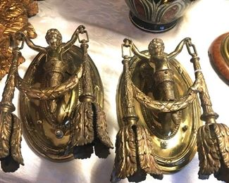 pair of French antique bronze (electric) sconces