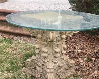 Solid cement pedestal table