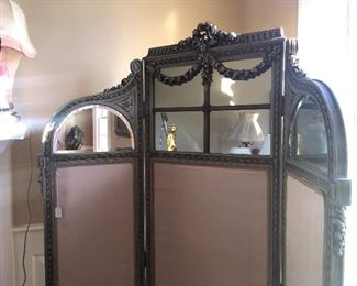 Louis XVI  style silk paneled beveled mirror dressing room screen, see following photos for details