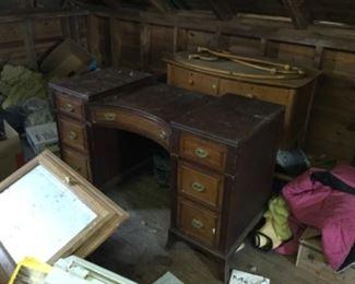 Desk and dresser in loft