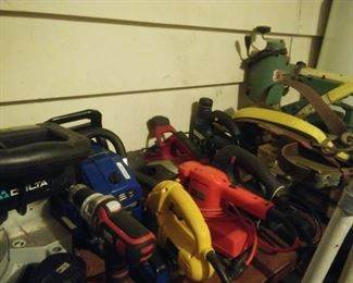 Assorted hand tools, power tools, tile cutter