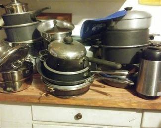non-stick pots and pans, cast iron pans, tea kettles, saute pans,