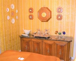 NICE BUFFET WITH GRANITE TOP, SILVER PLATE TEA SERVICE, CUT CRYSTAL WINE GLASSES