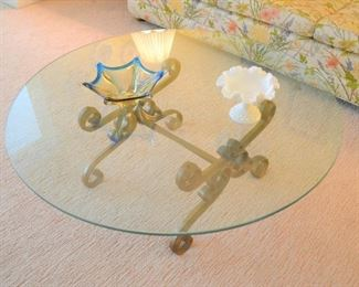 GLASS COFFEE TABLE - VINTAGE GLASS COLLECTIBLES