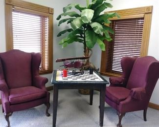 2 Ethan Allen wingback chairs