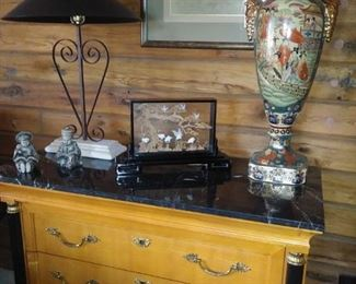 Thomasville 3 drawer marble top chest