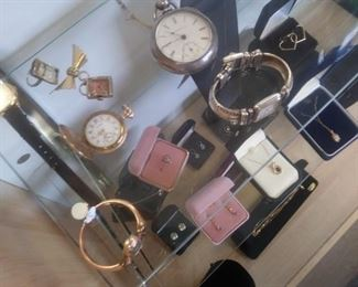 Some of the pocket watches we have for t;s sale. Three are 21 jewel watches.