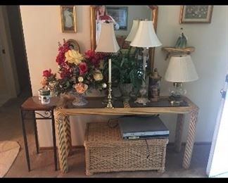 Sofa table, Wicker storage chest, lamps