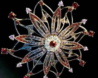 Signed Carolee Designer Jeweled Brooch