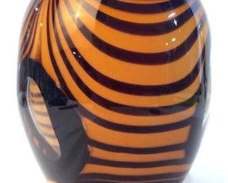 Art Glass Zebra Vase