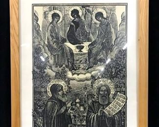 Signed Lithograph Depicting Religious Figures