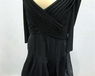 TADASHI Black Silk Taffeta Jersey Surplice Dress