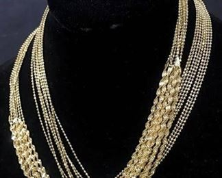 Stunning Multi Strand Everyday Gold Tn Necklace