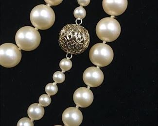 Carolee Long Stranded Champagne Glass Pearls