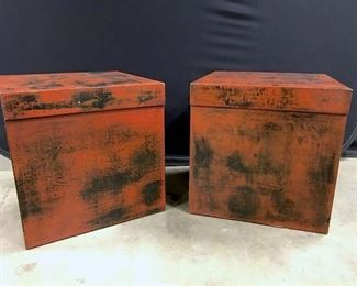 Pair Of Contemporary End Table Storage Boxes