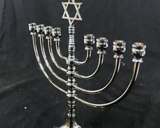 Silver Toned Menorah with Star of David